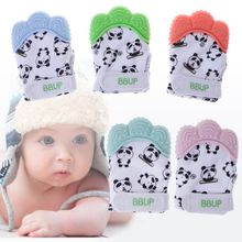 Baby Teether Gloves Panda Cute Cartoon Convex Silicone BPA Free Chew Oral Care