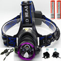 Led Headlamp 4 Modes Headlight 2000 Lumens CREE XM-L T6 Led Headlamp Light+AC Charger+Car Charger+2*18650 Battery