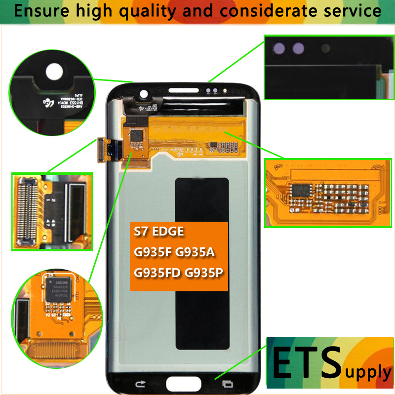 Super AmoLed LCD Screen Display Touch Digitizer Assembly For Samsung Galaxy S7 Edge G935 G935F D T A V 5.5 inches Free Delivery