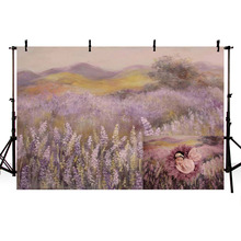 Oil Painting Lavender Field Newborn Baby Shower Backdrop Printed Mountains Tree Light Purple Watercolor Photo Shoot Backgrounds