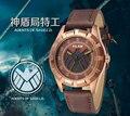 НОВЫЙ Vilam Роскошные Часы Marvel Агенты shield Натуральная Кожа мужской Моды Случайные Часы Cool boy Часы Кварца Япония наручные часы