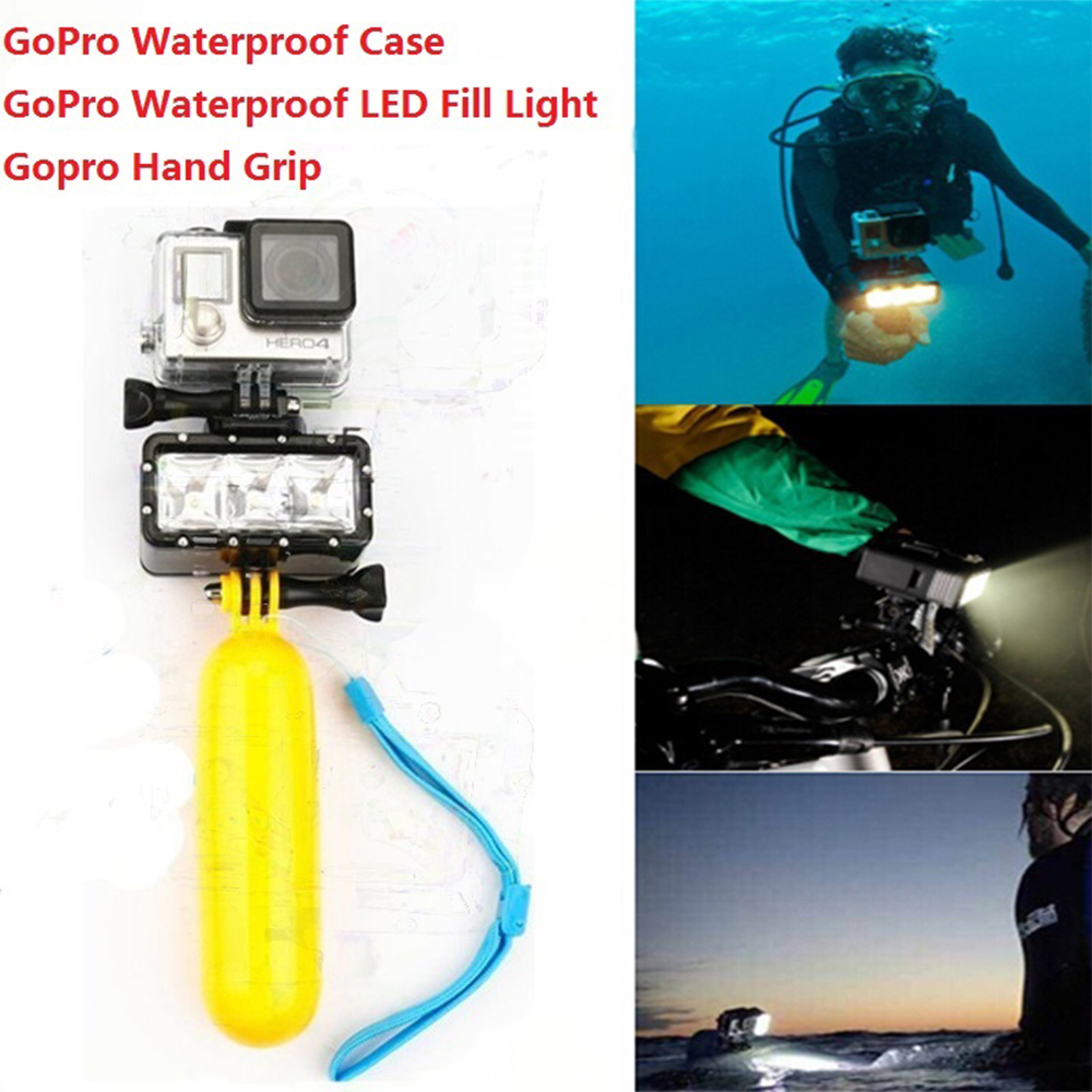 Gopro Accessories Gopro Waterproof Diving LED Flash Fill Light + Gopro Waterproof Housing Case + Hand Grip For Gopro Hero 4 3+ 3 hottest waterproof cover diving protective housing underwater case for gopro hero 3 4