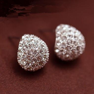 Vintage Full Crystal Crescent Earrings