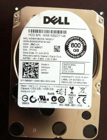 3 года гарантии 100% Новый и оригинальный SAS 600 Г 10 К 6 ГБ 2.5 inch R820 R910 R710 96G91 C5R62 WD6001BKHG-18D22V1