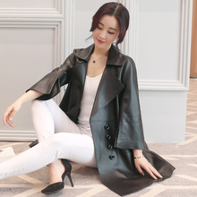 Ptslan Zipper Real Leather Jacket Women Spring Slim Outerwear Long Women Leather Trench Coat Female
