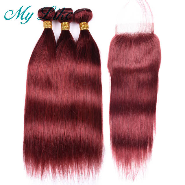 My Like Straight Human Hair Bundles With Closure Color 33 Red