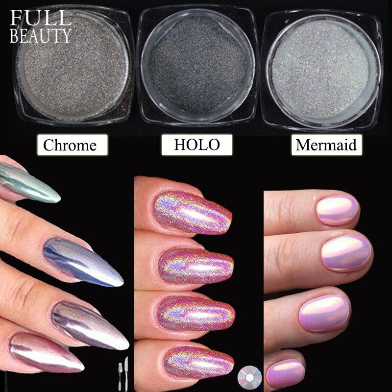 Full Beauty 3 Bottles Nail Glitter Mirror Mermaid Holo