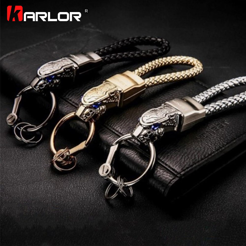 Creative Leopard Head Model Weave Keychains Key Holder Car Key Ring Chain Zinc Alloy Automobile Car Styling Car Accessories Gift unique wolf head style zinc alloy car decorative sticker silver