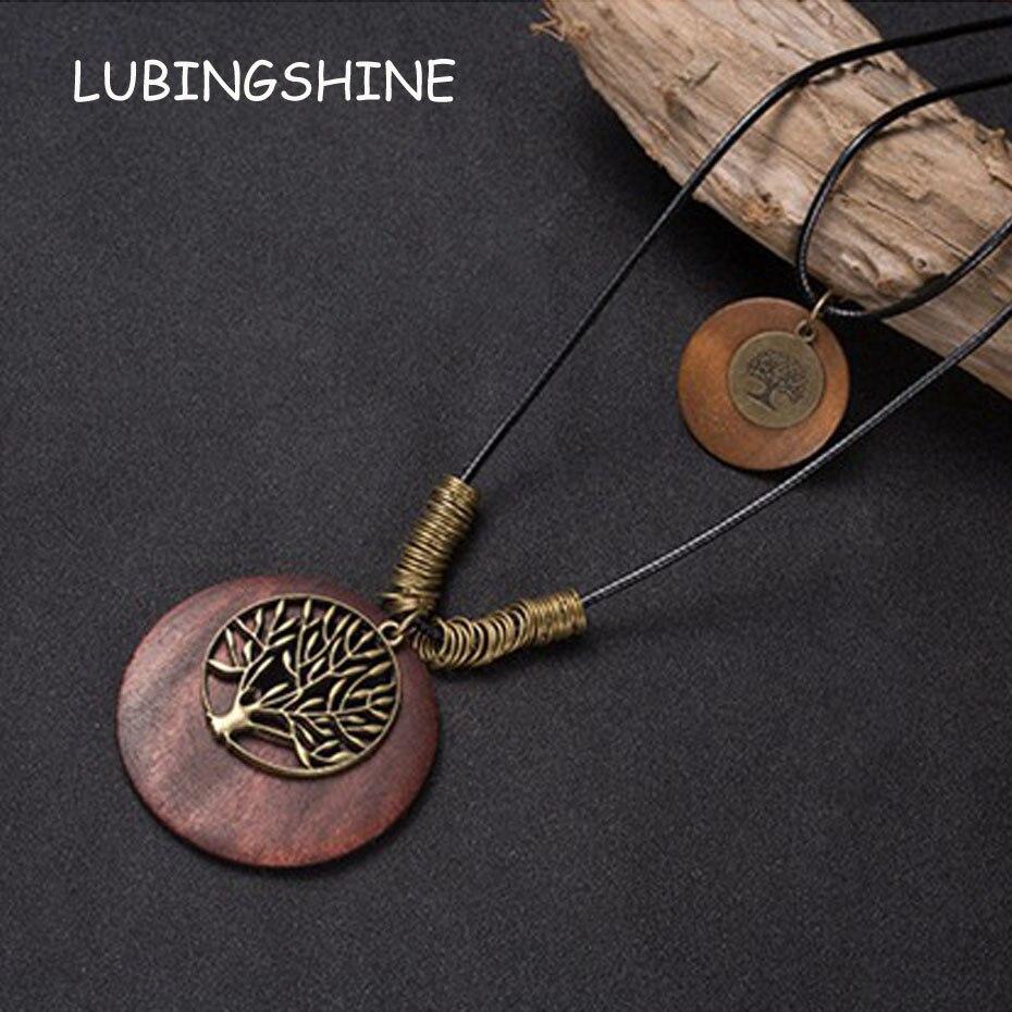 LUBINGSHINE Women Men Retro Ethnic All-match Sweater Long Necklaces Fashion Wood Multi-Shape Pendants Jewelry Leather Chain