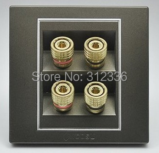 free shipping wall four holes SPEAKER SOCKET  coffee color The four audio free shipping copper colour b1 speaker shock speaker spikes