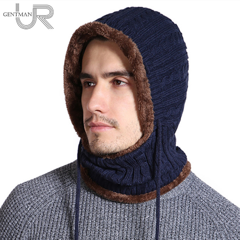 New Winter Knitted Hat Unisex Balaclava Long Neck Protection Skullies Beanies Add Fur Lined Hats For Men Warm Hat Female