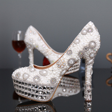 2016 Fashion Ivor Shoes Ladies Round Toe Shoes Ivory and White Pearl Woman Bridal Shoes Rhinestone High Heels Free Shipping