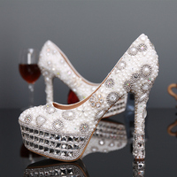 2016 Fashion Ivor Shoes Ladies Round Toe Shoes Ivory And White Pearl Woman Bridal Shoes Rhinestone