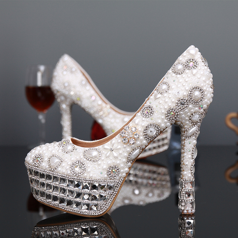 2018 Fashion Ivor Shoes Ladies Round Toe Shoes Ivory and White Pearl Woman Bridal Shoes Rhinestone High Heels Free Shipping
