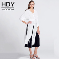 HDY Women Long Blouses White Elegant Female Shirt Casual Split Blouse Autumn 2017 New Fashion Open