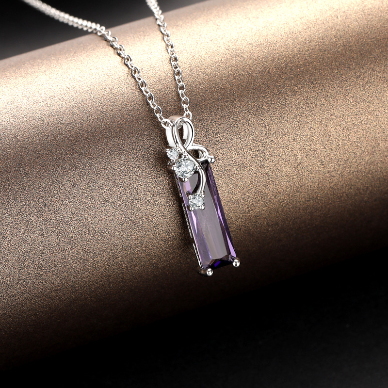 S925 Sterling Silver Amethyst Pendants Necklace Rectangular Clavicle Pendant Sapphire Colgantes De Pendants Bizuterias For Women