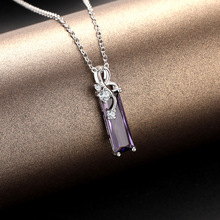 S925 Sterling Silver Amethyst Pendants Necklace Rectangular Clavicle Pendant Sapphire Colgantes De Pendants Bizuterias For Women все цены