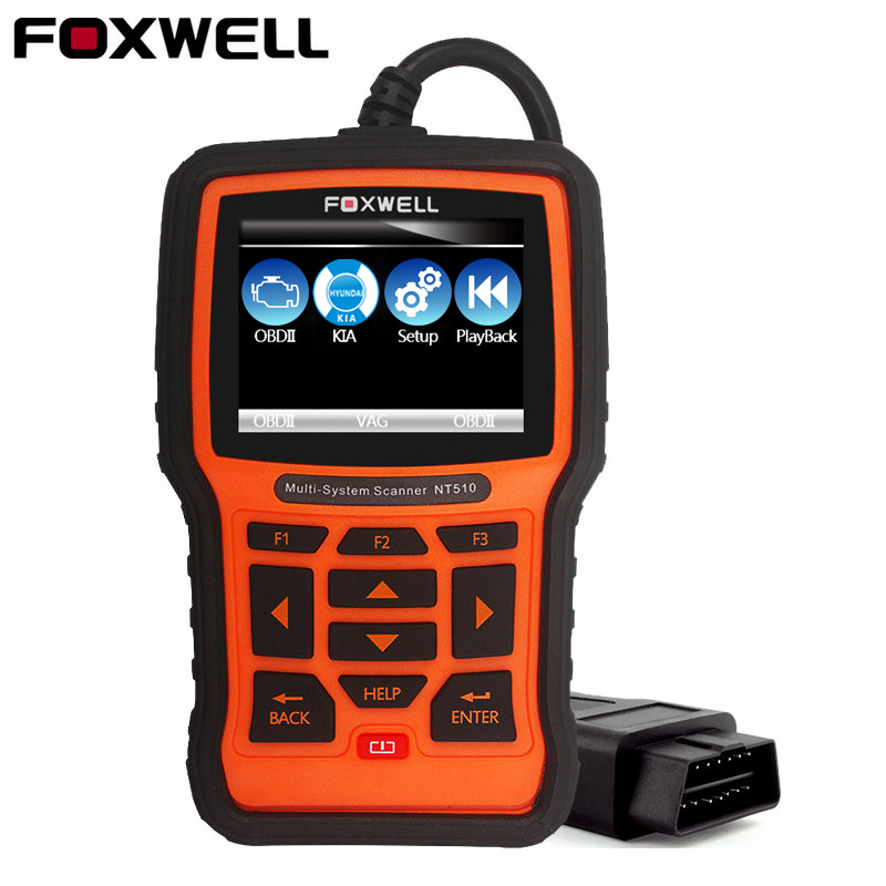 Foxwell NT510 автомобильной OBD II диагноз сканер для Kia/hyundai Honda Toyota двигателя передачи ABS подушки безопасности SRS сброса OBD2 ...
