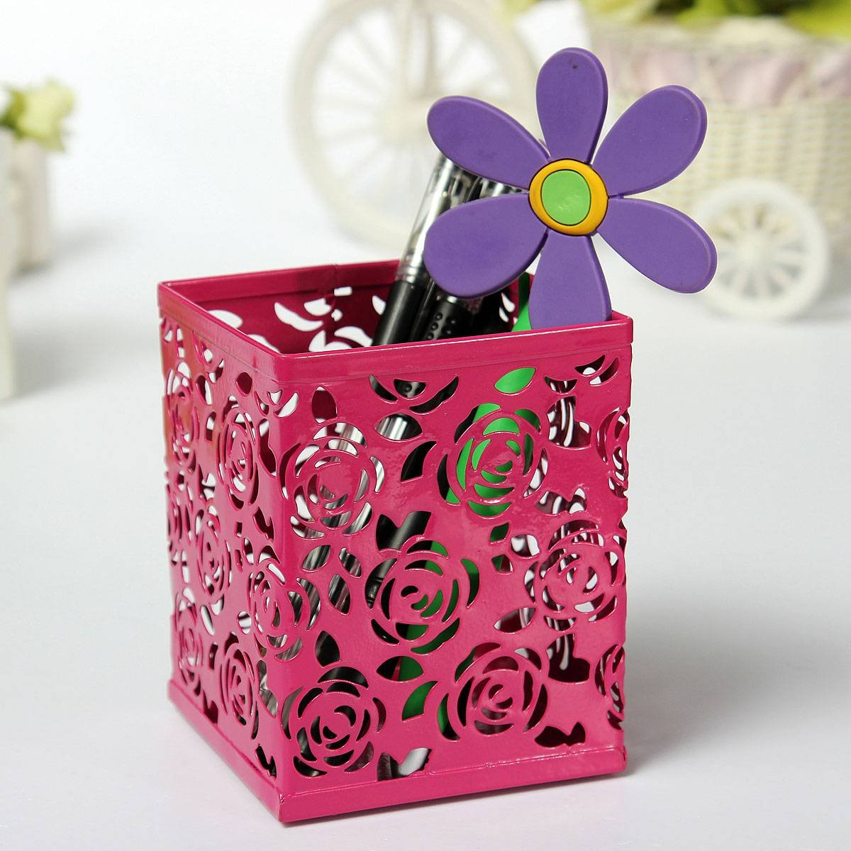 Affordable Pen Holder Metal Hollow Rose Flower Pattern Square rose red
