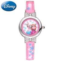 Congelés Femmes En Cuir Quartz Belle Montre Femme Rose Bleu Blanc Ronde Aiguille D'origine Disney 54055 Cadeau Boîte Relogio Feminino