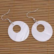 30 мм диск монета ракушка натуральный белый перламутровый Серьги