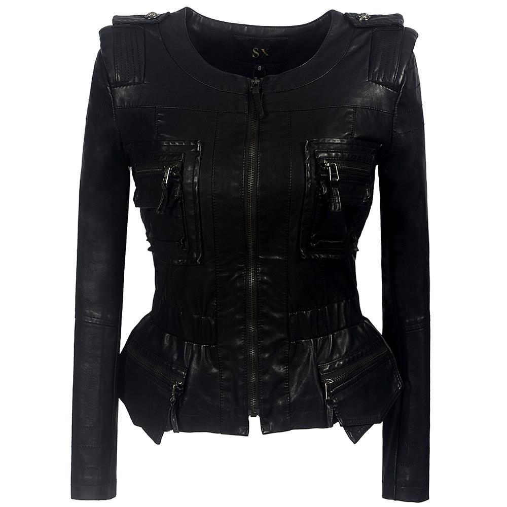 2019 Coat Outerwear Ruffle Gothic Faux   Leather   PU Jacket Women Winter Autumn Fashion Motorcycle Jacket Black Faux   Leather   Coats