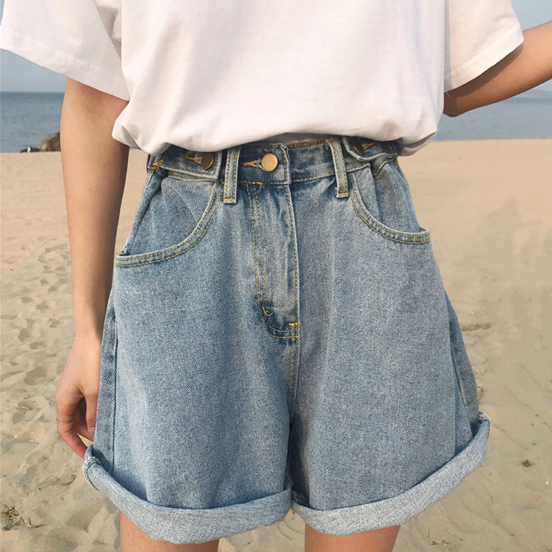 Denim Vintage Light Blue Solid Fashion  High Waist Simple New Arrival Loose Casual Female Shorts