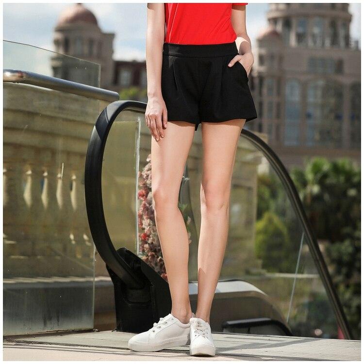 364d328b7b4 AOFULI L XXXL 4XL 5XL Black Shorts Women Summer Plus Size Short ...