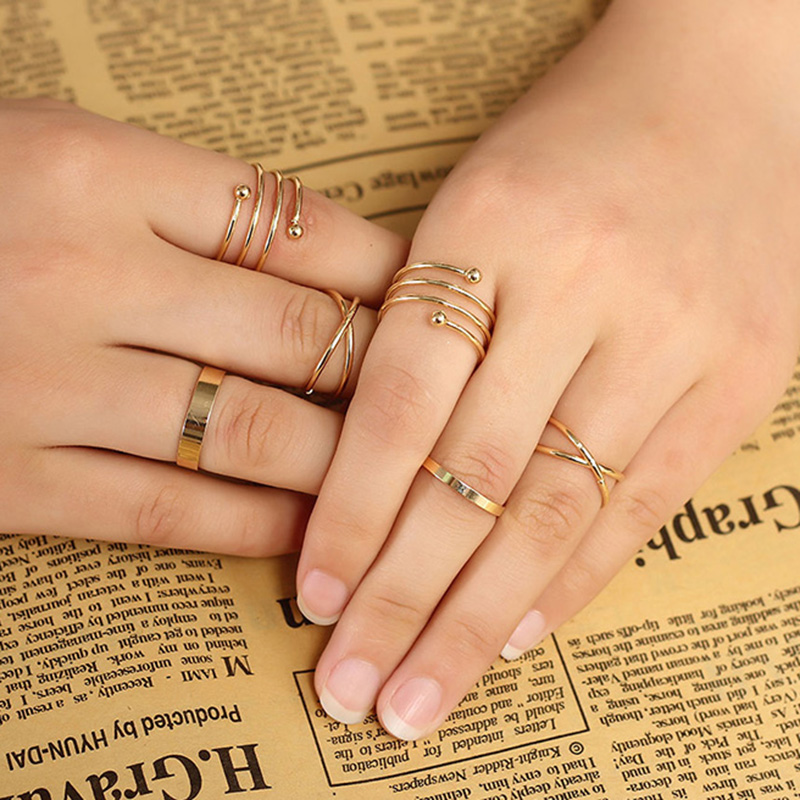 6 Pieces Set Finger Rings For Women Gold Color Alloy Engagement
