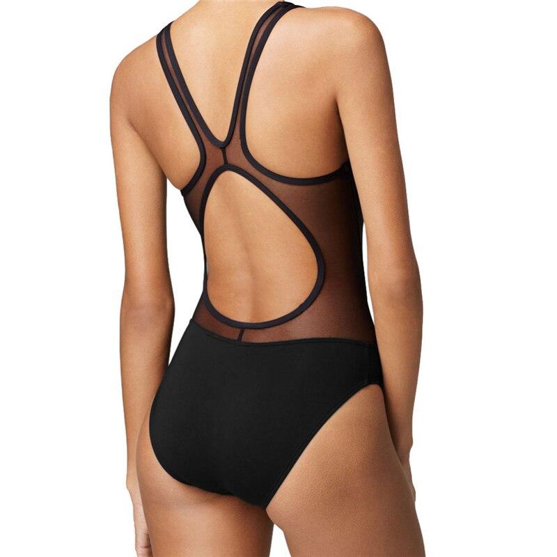 Black Mesh Women One Piece Swimwear Sexy Swimsuit Monokini Swiming Suit Beachwear Summer One Piece Bathing Suit Swimsuit