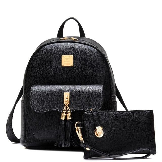 Small Leather Bag High Quality Fashion College Wind Women Tassel School Bag  For Teenagers Girls Daily Backpacks Mochila Feminina ca29bfcdb7b68