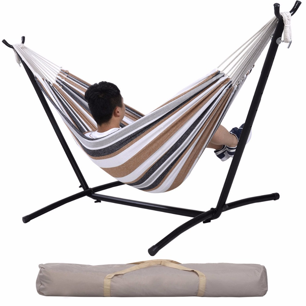 Double <font><b>Hammock</b></font> With Space Saving Steel <