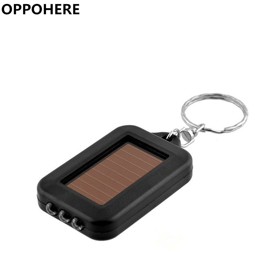 OPPOHERE Portable Outdoor Solar Power 3 LED Light Keychain Keyring Torch Flashlight Lamps solar powered 3 led white flashlight keychain silver