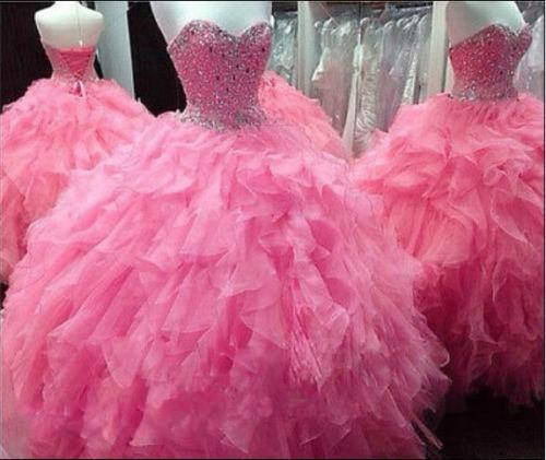 Sparking Crystal Beaded Quinceanera Dresses Ball Gown Cascading Ruffles Vestidos de Festa 15 years Girl hot pink Prom Gowns