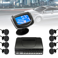 Waterproof 8 Sensors 22mm Car LCD Display Parking Sensor Monitor Kit Auto Reverse Backup Radar Assistance Buzzer Alarm Detector