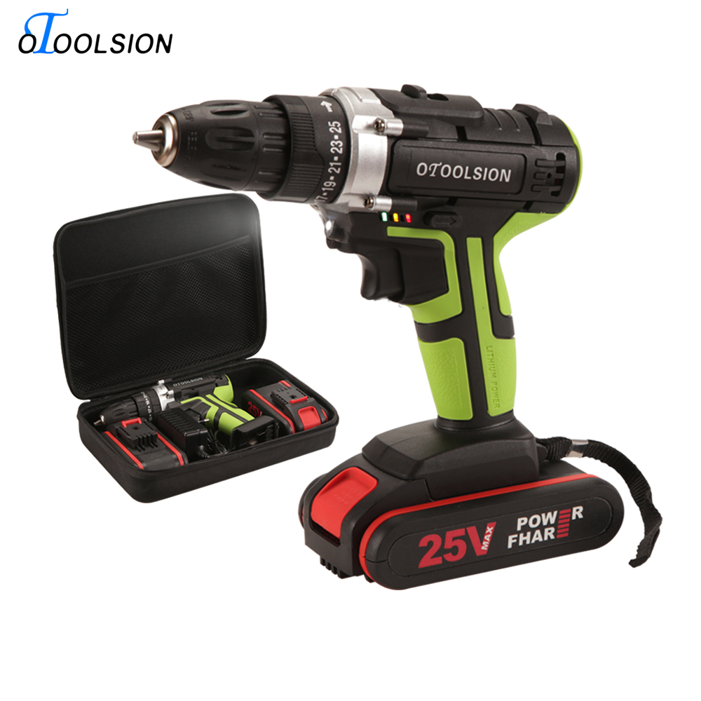 48N.m Dual Speed Electric Tools 25V Drill Screwdriver+Electric Driver Battery Screwdriver Power Drilling In Steel/ Wood/ Ceramic
