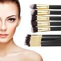 10 Pcs Pincéis de Maquiagem Profissional Set Make up Brushes Cosméticos Eyeshadow Face Powder Foundation Lip Escova Kit com Saco Quente