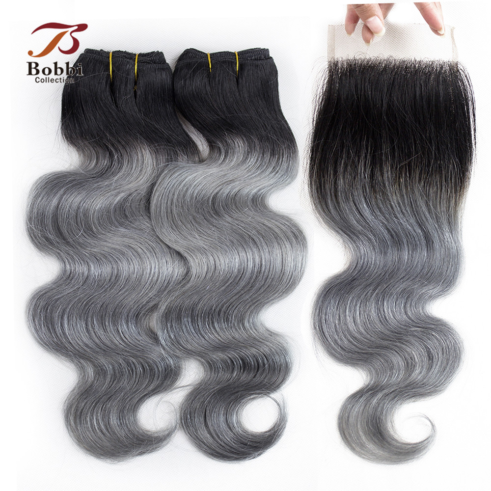 BOBBI COLLECTION 2/3 Bundles With Closure Ombre Dark Grey Peruvian Body Wave Hair Pre-Colored Non Remy Human Hair Extensions