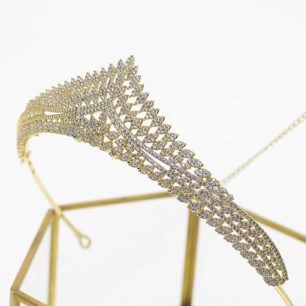ยุโรป simple sparkling zircon bridal Gold Crown Tiara คริสตัลจัดงานแต่งงานเจ้าสาวเครื่องประดับเพื่อนเจ้าสาว