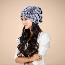 Free Shipping Women Genuine Real Knit Rabbit Fur Hats Scarves Nature Rabbit fur Cap Headgear Headdress Fashion Women Neck Warmer