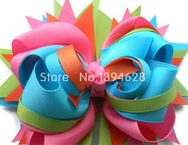 Girls hair bows Boutique bow Pink Turquoise Big hair bow Stacked hair bow