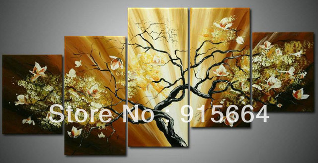 5 Panels Abstract Flowers Handmade Huge Parlor Drawing Wall Hanging Art Contemporary Oil Painting Oils Decorative