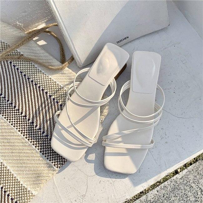 Boussac Vintage Square Toe Sandals Women Narrow Band High Heel Women Sandals Elegant Slip On Beach Sandals SWC0415