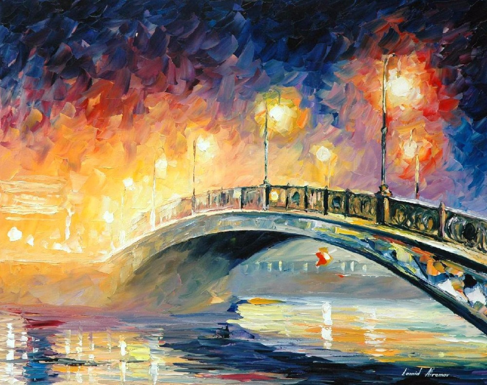 Fine watercolor art for sale - Landscape Painting For Sale Colorful Oil Paintings Canvas Bridge Modern Abstract Fine Art High Quality Hand