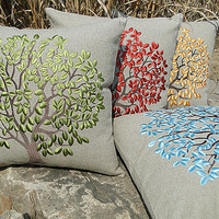 linen embroidered fabric embroidery lumbar support pillow CASE