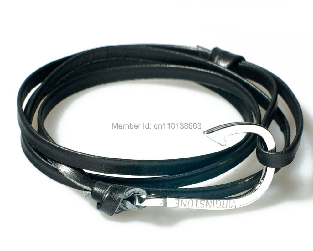 Fish Hook Bracelet Cowhide Leather