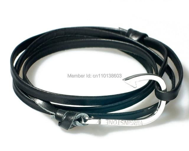 Virginstone 925 Sterling Silver Fish Hook Bracelet Cowhide Leather Miansai Nautical Style Fashion Handmade Men Women