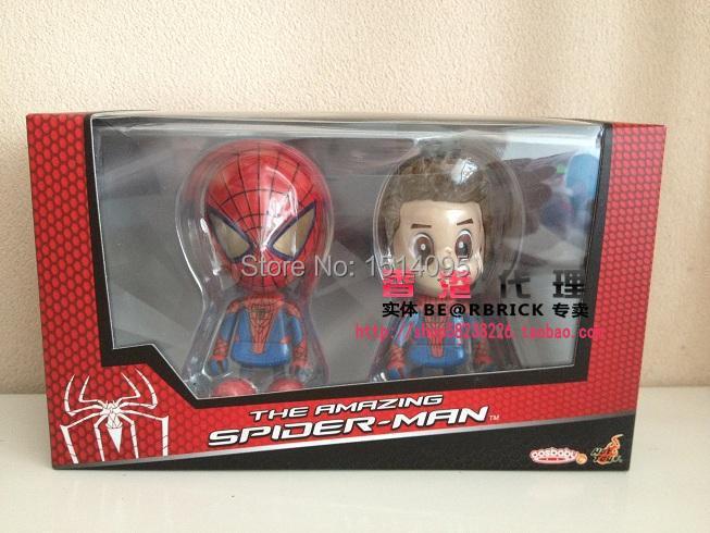 2pcs/set Marvel Superhero Spiderman The Amazing Spider-Man Q Version PVC Action Figure Toys Dolls SPM111