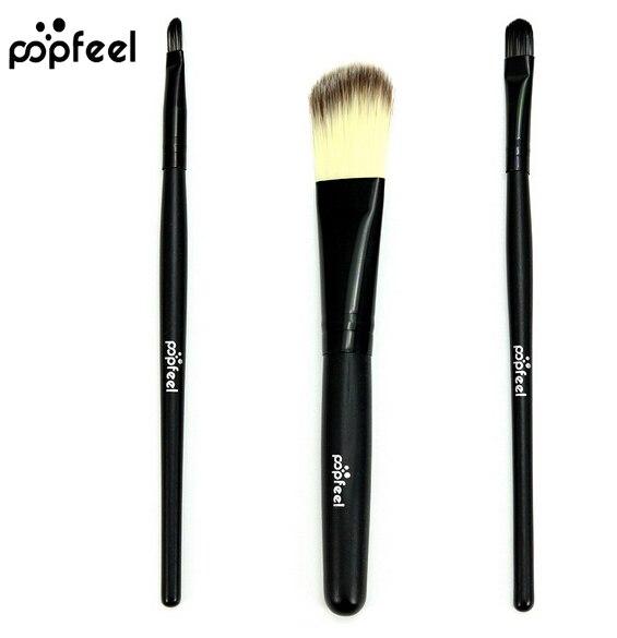 Popfeel 3pcs Pro Makeup Brushes Set Foundation Concealer Eyeshadow Lip Brush Tool Blending wool Brush Set Tool Kit
