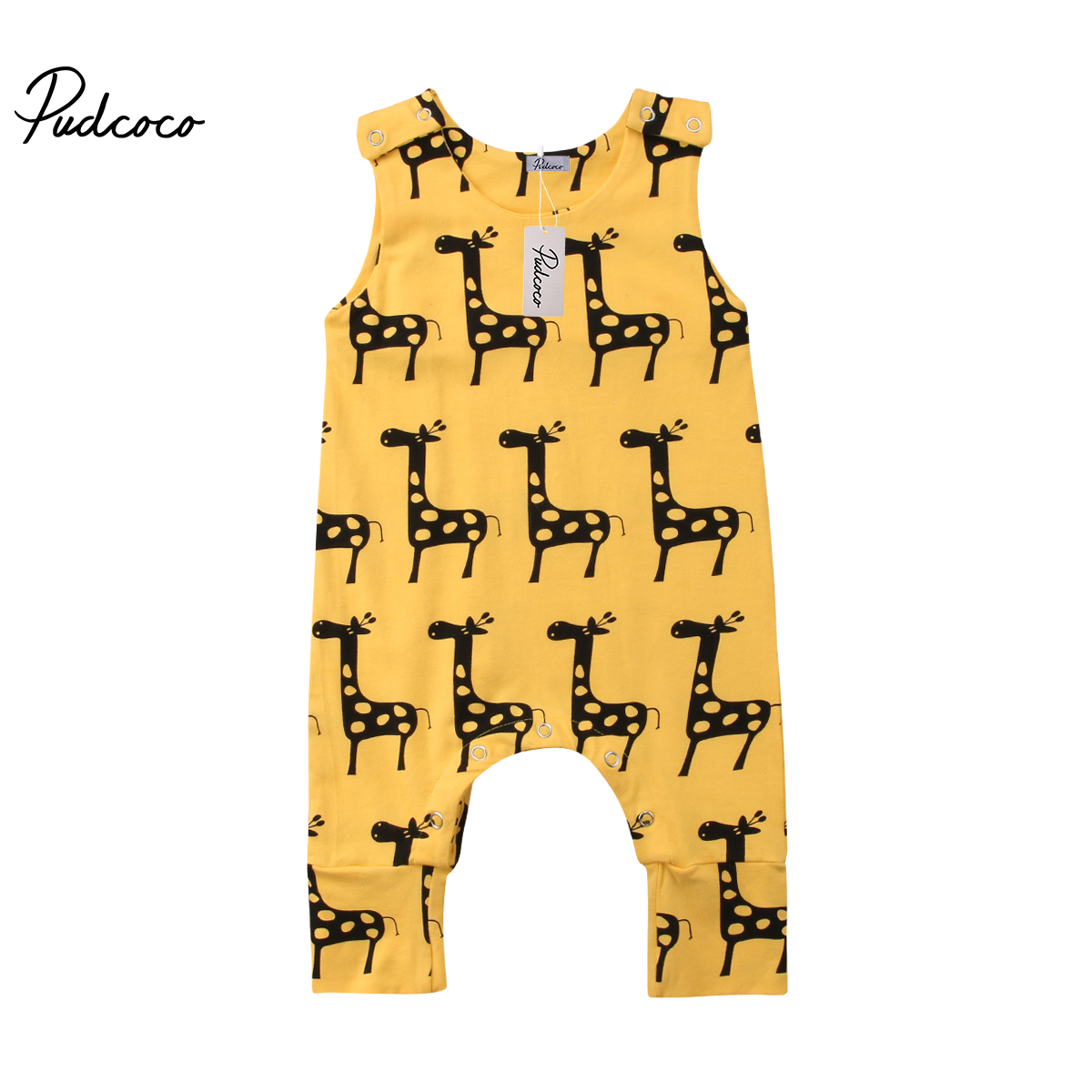 2018 Brand New 0-24M Cute Newborn Baby Boy Girl Sleeveless Cartoon Animal Cotton Romper Jumpsuit Outfits Summer Clothes
